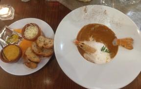 Starter: Langoustine Bisque | whole langoustine, Crème Fraîche mousse, garlic compound butter and fresh croutons.
