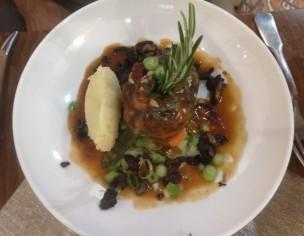 Main: Duck stuffed meatloaf, potato puree, veggies, velvety jus