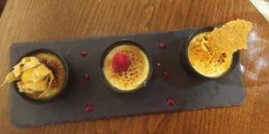 Dessert: Trio of creme brulee | Orange Blossom, Lavender, & Pastis