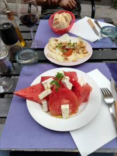 1. Watermelon, Tomato, Feta, & micro basil salad 2. Local cheese with toasted almonds, candied pimento pepper, & honey