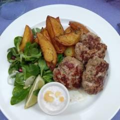 Beef kofta , frites, mâche pomegranate salad, & tzatziki